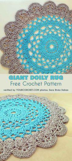 Gigant Doily Rug Free Crochet Pattern #freecrochetpatterns #crochetrug #rug #doily