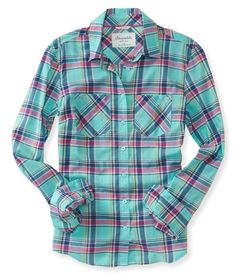 Long Sleeve Sunset Plaid Woven Shirt from Aeropostale