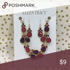 Ellen Tracy Necklace and Earrings Set Pink and purple colors, necklace and earrings set Ellen Tracy Jewelry Necklaces