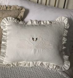 Add a decorative touch to any room with this charming embroidered swan cushion.Pretty handmade cushion. With two embroidered swans. Created with soft milk white linen and delicate all round fri... Beautiful Swan, Handmade Cushions, Swan Lake, Cushion Pads, Swans, Handmade Design, Nursery Themes, Bed Pillows, Milk
