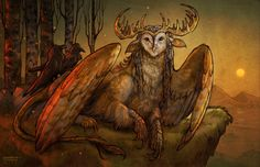 Tytogryph - Owl Stag Gryphon Griffin