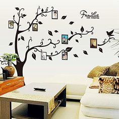 $20.99  - ZXWFOBEY DIY Photo Gallery Tree Frame Decor Sticker Peel  Stick Vinyl Sheet Easy To Install  Apply Decor Mural for Home Bedroom Stencil Decoration >>> Check out the image by visiting the link. (This is an affiliate link)