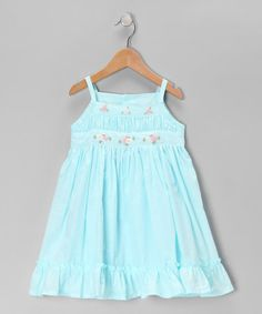 Take a look at this Aqua Flower Dress - Toddler & Girls by Fantaisie Kids on #zulily today!