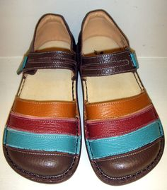 Comfortable and colorful leather Mary Jane style shoes.   Designer: Spring Footwear