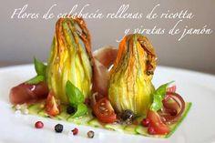 Flores de calabacín  rellenas de queso ricotta y jamón