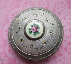 Splendid Enameled Silvertone Art Deco Compact with Guilloche Enameled Rose and Sunflower Swag Design...Powder Thy Nose in Perfection With This