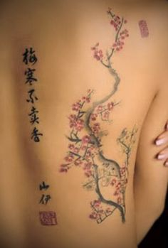 asian characters mixed with cherry blossoms in tattoos   Cherry Blossoms