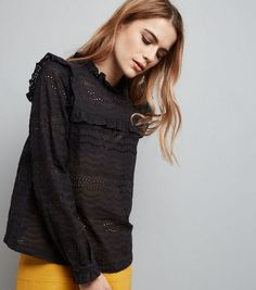Black Cut Out Frill Trim Long Sleeve Top  | New Look