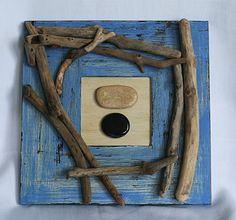 cadre coquillages et bois flott s d 39 esprit bord de mer. Black Bedroom Furniture Sets. Home Design Ideas