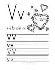 V is for Valentine  ABC Printing Practice Page from Making Learning Fun.