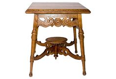 Ornate Victorian oak parlor stand, newly refinished. Sits on four legs with square top and ornate carving and turning.