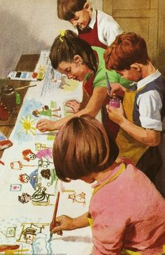 Children painting - Peter And Jane, Fun And Games