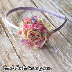 CLEARANCE-Pink & Purple Floral Shabby Chic Headband,  Basic Headband, Toddler Headband, Girls Headband, Hair Accessory, Hair Bow, Adult Headband, Etsyby BandsForBabes on Etsy, $3.99