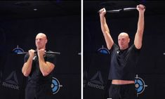 The Steel Club Arnie Press is a lot more challenging than it looks, choke up on the club if you need to. Training, Exercise, Club, Steel, Workout, Education, Fitness, Ejercicio, Work Out