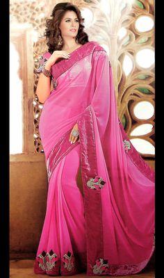 Pink Shade Chiffon Sari with Border Work Price: Usa Dollar $88, British UK Pound £52, Euro65, Canada CA$96 , Indian Rs4752