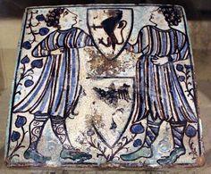 Museo della Casa Fiorentina Antica - Firenze - Italia centrale -  mattonella in ceramica smaltata - 1390-1400 ca.