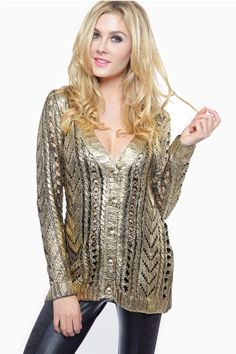 04e9e7bb6bb Buy Cozy Gold Foil Knitted Sweater with discount price and high quality  from Cicihot Sexy dresses online store which offers clothing