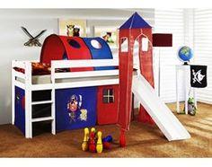 Łóżko dziecięce ORSO+TUNEL KORSARZ czerwono-granatowe