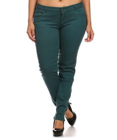 Love this Teal Emperial Premium Five-Pocket Skinny Pants - Plus Too on #zulily! #zulilyfinds
