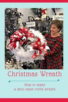 deco mesh wreaths Season's Greetings Deco Mesh Ruffle Wreath Looking for an easy wreath to make? Plus, all the supplies are in the Season's Ribbon Wreath Tutorial, Diy Wreath, Wreath Ideas, Tulle Wreath, Burlap Wreaths, Christmas Wreaths To Make, Winter Wreaths, Christmas Crafts, Deco Mesh Christmas Wreaths Diy