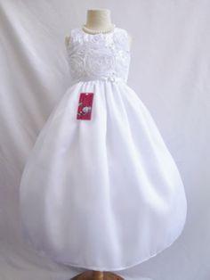 White wedding pageant recital formal flower girl dress size 2 3 4 5 6 8 10 12