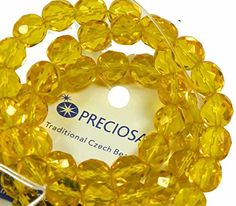 Yellow Czech 8mm Faceted Round Firepolished Glass Beads 16 Loose Strand Preciosa Brand