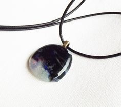 Fused Glass Pendant, The Lovely Storm, Black and Blue Necklace, Glass Round Pendant