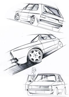 Car Design Sketch, Car Sketch, Icon Design, Golf 1 Cabrio, Combi T2, Volkswagen Golf Mk1, Volkswagen Transporter, Vw Fox, Industrial Design Sketch