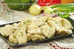 Pierogi z kalmarami Recipe Boards, Polish Recipes, Group Meals, Tortellini, Dumplings, Potato Salad, Pancakes, Pierogi, Menu