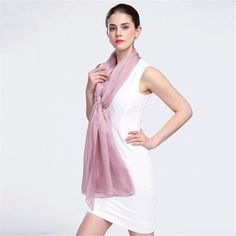 New Spring And Summer 100% Mulberry Silk Scarves Women Solid Color Breathable Shawls High Quality Delicate Female Scarf //Price: $54.09 & FREE Shipping //     #elegantlady