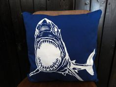 "Screen Printed Shark Pillow Cover 16x16"" on Etsy, $31.41 CAD"