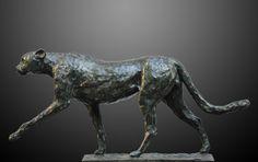 Chita, Guepardo, bronce a la cera perdida, 23x50x10cm, 2009.  www.duchini-zurbaran.com.ar