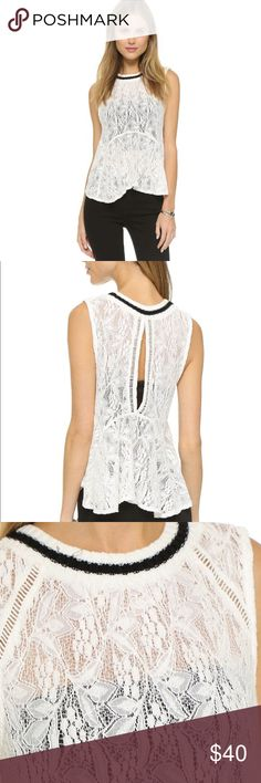 Free People Maisie Lace All Star Tank A draped lace Free People tank with a ribbed crew neckline and flounced hem. Keyhole details the back. Sleeveless. Sheer. Free People Tops Tank Tops