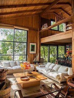 Stunning Living Room Design With Farmhouse Style Atemberaubendes Wohnzimmerdesign im Bauernhausstil Home Design, Tiny House Design, Home Interior Design, Design Ideas, Bamboo House Design, Tropical House Design, Cottage Design, Tiny House Cabin, Cabin Homes