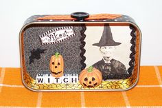 Halloween mixed media Altoid tin.