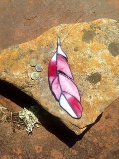 Flamingo feather in stained glass by BlueBurroCreations on Etsy