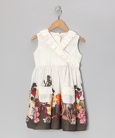 Take a look at this White Floral Garden Surplice Dress - Toddler & Girls by Yo Baby on #zulily today!