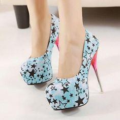 Newest Dream of star Stiletto Heels (blue,red) | Stylishplus.com