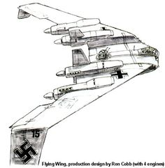 Dieselpunk: Raiders of the Lost Ark, Nazi flying wing. Production design by Ron Cobb (with 4 engines)