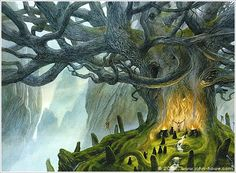The Summer Tree by John Howe I would like to think such a thing exists in the forests of Yggdrasil, even if we can never see it Fantasy Literature, Fantasy Books, Fantasy Art, John Howe, Summer Trees, Celtic Mythology, Fantasy Forest, Fantasy Drawings, Fantasy Illustration