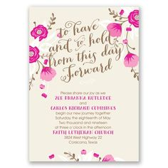 The romantic in you will adore these all in one wedding invitations with watercolor floral design and 'to have and to hold from this day forward' beautifully displayed as shown above your wording. These two-sided invitations are printed with your invitation wording on the front and your choice of wording on the back (reception wording shown). Matching response postcards are included in the price. Due to the unique printing process required to offer you this invitation and its coordinating…