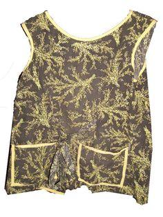 Ladies Smock Granny Cobbler Apron Vintage Vintage UsdFloral Design Black/Yellow