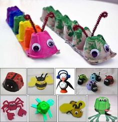 DIY kids crafts egg carton bugs to make Daycare Crafts, Preschool Crafts, Easter Crafts, Fun Crafts, Spring Craft Preschool, Easy Kids Crafts, Arts And Crafts For Kids Toddlers, Spring Toddler Crafts, Animal Crafts For Kids