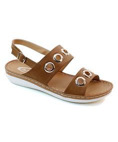 Loving this Camel Medallion Cutout Sandal on #zulily! #zulilyfinds
