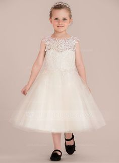 fd39b4e62 A-Line/Princess Knee-length Flower Girl Dress - Tulle/Lace Sleeveless Scoop  Neck With Appliques