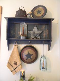 Farm Field Primitives love the hanging candle Primitive Bathrooms, Primitive Kitchen, Primitive Crafts, Country Primitive, Kitchen Country, Primitive Christmas, Primitive Shelves, Primitive Furniture, Country Furniture