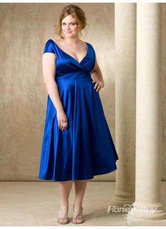 Royal+Blue+tea+length+Bridesmaid+Dresses+   neck round back tea length royal blue big size bridesmaid dress