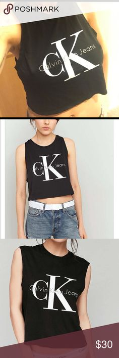 Calvin Klein muscle crop Purchased at Urban Outfitters. EUC as seen on the Kardashians - Kylie Jenner. Shorter than the 2nd two pics IMO Calvin Klein Tops