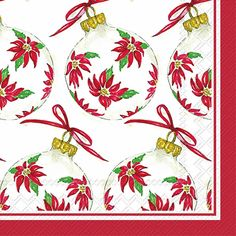 IHR Rosanne Beck Poinsettia Ornaments Christmas Floral Printed 3-Ply Paper Cocktail Beverage Napkins Wholesale C017300