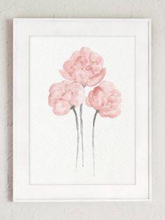 Shabby Chic Home Decor Minimalist Peony Flower Pastel Grey
